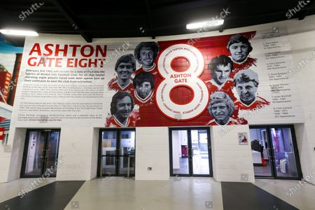 Stock Photo of General View of new Ashton Gate 8 Artwork by newly announced club artist Jordan Hall in the Concourse at the stadium
