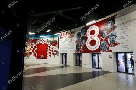Stock Picture of General View of new Ashton Gate 8 Artwork by newly announced club artist Jordan Hall in the Concourse at the stadium