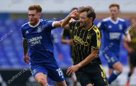 Stock Photo of Teddy Bishop of Ipswich Town and Ed Upson of Bristol Rovers