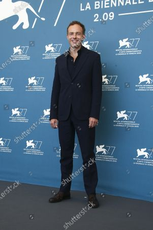 Actor Patrick Kennedy poses for photographers at the photo call for the film 'Miss Marx' during the 77th edition of the Venice Film Festival in Venice, Italy
