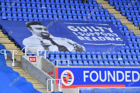 Stock Picture of A Ricky Gervais banner in the stands during the EFL Cup match between Reading and Colchester United at the Madejski Stadium, Reading