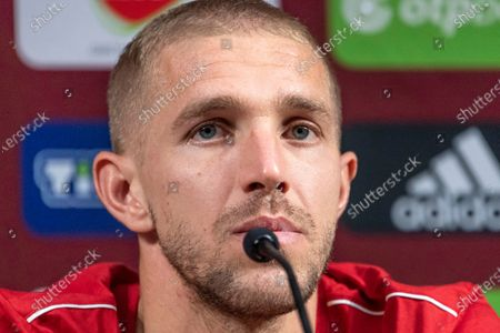 Yuri Gazinskiy of the Russian national soccer team attends a press conference at Ferenc Puskas Arena in Budapest, Hungary, 05 September 2020. Russia face Hungary on 06 September 2020 in a UEFA Nations League match.