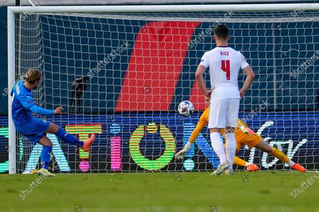 England goalkeeper Jordan Pickford (1) saves a penalty from Iceland midfielder Birkir Bjarnason (8) during the UEFA Nations League match between Iceland and England at Laugardalsvollur, Reykjavik