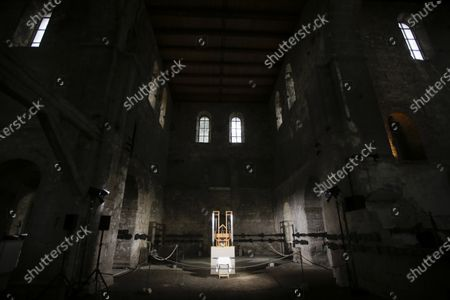"""The organ of the John Cage organ project is illuminated prior to a 'chord change' at the partially ruined Burchardi Church in Halberstadt, Germany, . The performance of the """"ORGAN/ASLSP,"""" or As Slow As Possible, composition by John Cage began in September 2001 at the church in the eastern town of Halberstadt and is supposed to end in 2640. The last chord change was in 2013"""