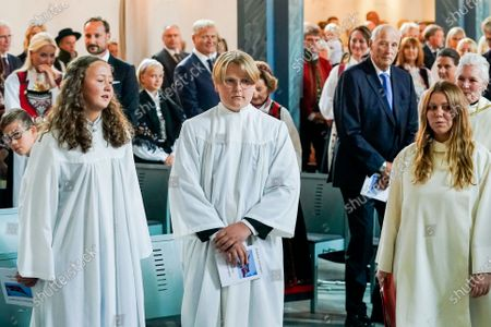 Norwegian Prince Sverre Magnus (C) stands with other confirmands during the his confirmation at the Asker Church, in Asker, Norway, 05 September 2020.
