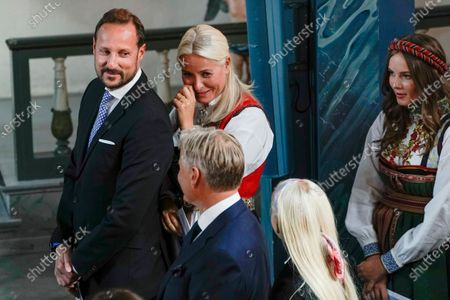 Norwegian Crown Prince Haakon (L), Crown Princess Mette Marit (C, back) and Princess Ingrid Alexandra (R) attend the confirmation of Prince Sverre Magnus (unseen) at the Asker Church, in Asker, Norway, 05 September 2020.