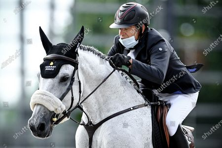 Stock Photo of Chris Pratt of Canada on Delicalato V/H Marienshof competes in the STAWAG jumping event at the Aachen International Jumping in Aachen, Germany, 05 September 2020.