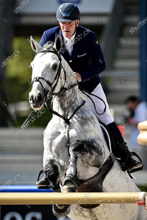 Roger Yves Bost of France on Cassius Clay Vdv Z competes in the STAWAG jumping event at the Aachen International Jumping in Aachen, Germany, 05 September 2020.