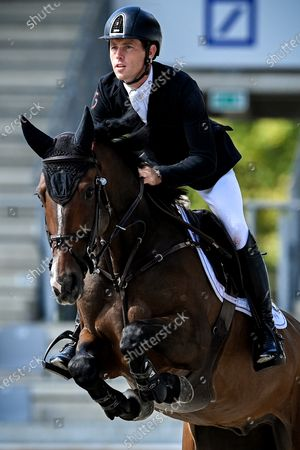 Scott Brash of Great Britain on Hello Franklin competes in the STAWAG jumping event at the Aachen International Jumping in Aachen, Germany, 05 September 2020.