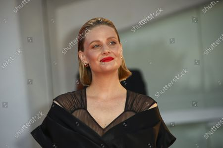 Actress Romola Garai poses for photographers upon arrival at the premiere of the film 'Miss Marx' during the 77th edition of the Venice Film Festival in Venice, Italy
