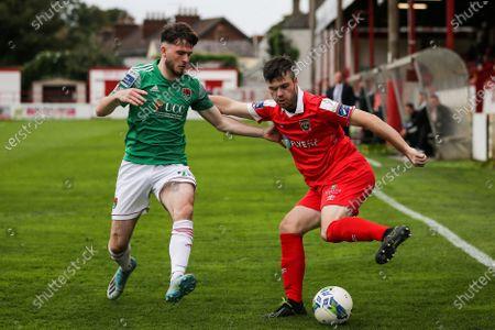 Shelbourne vs Cork City. Shelbourne's Alex O'Hanlon and Dale Holland of Cork City