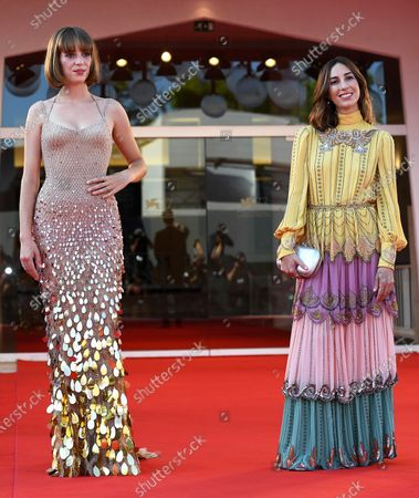 Gia Coppola (R) and US actress Maya Hawke arrive for the premiere of 'Mainstream' during the 77th annual Venice International Film Festival, in Venice, Italy, 05 September 2020. The movie is presented in the Orizzonti section at the festival running from 02 September to 12 September. The event is the first major in-person film fest to be held in the wake of the Covid-19 coronavirus pandemic. Attendees have to follow strict safety measures like mandatory face masks indoors, temperature scanners, and socially distanced screenings to reduce the risk of infection. The public is barred from the red carpet, and big stars are expected to be largely absent this year.