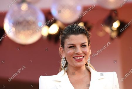 Emma Marrone arrives for the premiere of 'Miss Marx' during the 77th annual Venice International Film Festival, in Venice, Italy, 05 September 2020. The movie is presented in the official competition 'Venezia 77' at the festival running from 02 to 12 September. The event is the first major in-person film fest to be held in the wake of the Covid-19 coronavirus pandemic. Attendees have to follow strict safety measures like mandatory face masks indoors, temperature scanners, and socially distanced screenings to reduce the risk of infection. The public is barred from the red carpet, and big stars are expected to be largely absent this year. The 77th edition of the festival runs from 02 to 12 September 2020.