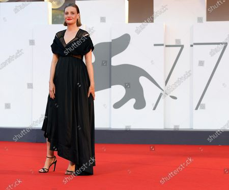 Romola Garai arrives for the premiere of 'Miss Marx' during the 77th annual Venice International Film Festival, in Venice, Italy, 05 September 2020. The movie is presented in the official competition 'Venezia 77' at the festival running from 02 to 12 September. The event is the first major in-person film fest to be held in the wake of the Covid-19 coronavirus pandemic. Attendees have to follow strict safety measures like mandatory face masks indoors, temperature scanners, and socially distanced screenings to reduce the risk of infection. The public is barred from the red carpet, and big stars are expected to be largely absent this year. The 77th edition of the festival runs from 02 to 12 September 2020.