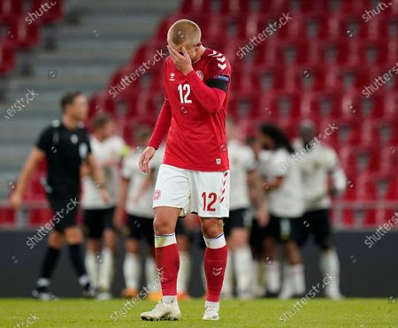 Denmark's Kasper Dolberg reacts after Belgium team scored the 2-0 lead during the UEFA Nations League group stage soccer match between Denmark and Belgium in Copenhagen, Denmark, 05 September 2020.