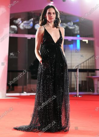 Sara Serraiocco arrives for the premiere of 'Non Odiare' during the 77th annual Venice International Film Festival, in Venice, Italy, 05 September 2020. The movie is presented in the official competition 'Venezia 77' at the festival running from 02 September to 12 September. The event is the first major in-person film fest to be held in the wake of the Covid-19 coronavirus pandemic. Attendees have to follow strict safety measures like mandatory face masks indoors, temperature scanners, and socially distanced screenings to reduce the risk of infection. The public is barred from the red carpet, and big stars are expected to be largely absent this year.