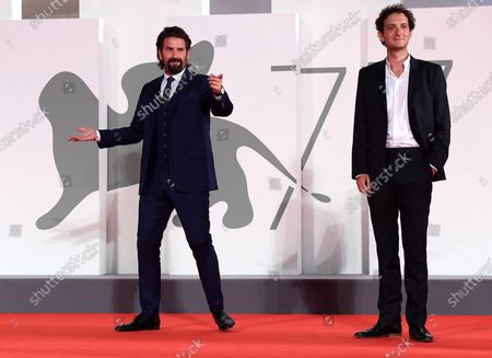 Gregoire Ludig (L) and David Marsais arrive for the premiere of 'Mandibules' during the 77th annual Venice International Film Festival, in Venice, Italy, 05 September 2020.  The movie is presented out of competition at the festival running from 02 September to 12 September. The event is the first major in-person film fest to be held in the wake of the Covid-19 coronavirus pandemic. Attendees have to follow strict safety measures like mandatory face masks indoors, temperature scanners, and socially distanced screenings to reduce the risk of infection. The public is barred from the red carpet, and big stars are expected to be largely absent this year.