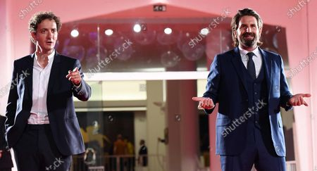 Gregoire Ludig (R) and David Marsais arrive for the premiere of 'Mandibules' during the 77th annual Venice International Film Festival, in Venice, Italy, 05 September 2020.  The movie is presented out of competition at the festival running from 02 September to 12 September. The event is the first major in-person film fest to be held in the wake of the Covid-19 coronavirus pandemic. Attendees have to follow strict safety measures like mandatory face masks indoors, temperature scanners, and socially distanced screenings to reduce the risk of infection. The public is barred from the red carpet, and big stars are expected to be largely absent this year.