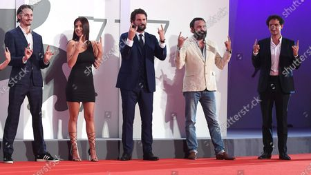 Belgian rapper Elvis Romeo, French actors Adele Exarchopoulos and Gregoire Ludig, French filmmaker Quentin Dupieux and French actor David Marsais arrive for the premiere of 'Mandibules' during the 77th annual Venice International Film Festival, in Venice, Italy, 05 September 2020.  The movie is presented out of competition at the festival running from 02 September to 12 September. The event is the first major in-person film fest to be held in the wake of the Covid-19 coronavirus pandemic. Attendees have to follow strict safety measures like mandatory face masks indoors, temperature scanners, and socially distanced screenings to reduce the risk of infection. The public is barred from the red carpet, and big stars are expected to be largely absent this year.