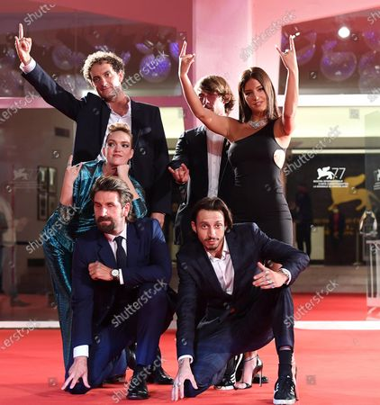 French actors Coralie Russier (C-L), Adele Exarchopoulos (C-R), Gregoire Ludig (front L), and David Marsais (back L), and Belgian rapper Elvis Romeo (front R) arrive for the premiere of 'Mandibules' during the 77th annual Venice International Film Festival, in Venice, Italy, 05 September 2020.  The movie is presented out of competition at the festival running from 02 September to 12 September. The event is the first major in-person film fest to be held in the wake of the Covid-19 coronavirus pandemic. Attendees have to follow strict safety measures like mandatory face masks indoors, temperature scanners, and socially distanced screenings to reduce the risk of infection. The public is barred from the red carpet, and big stars are expected to be largely absent this year.