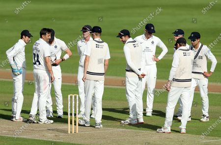 Middlesex players celebrate taking the wicket of Daniel Lawrence by Tim Murtagh during Essex CCC vs Middlesex CCC, Bob Willis Trophy Cricket at The Cloudfm County Ground on 6th September 2020