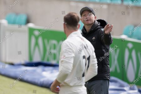 Stock Image of Gareth Batty offers some advice to Daniel Moriarty, Surrey CCC during Surrey CCC vs Sussex CCC, Bob Willis Trophy Cricket at the Kia Oval on 6th September 2020