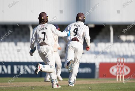 Will Jacks, Surrey CCC and Ben Foakes, Surrey CCC celebrate the dismissal of Delray Rawlins, Sussex CCC during Surrey CCC vs Sussex CCC, Bob Willis Trophy Cricket at the Kia Oval on 6th September 2020