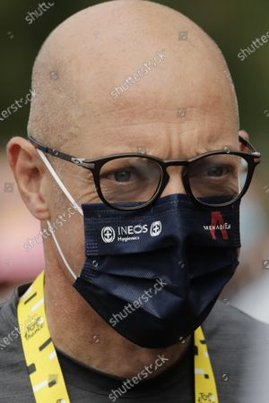 Stock Image of Team Ineos manager Sir Dave Brailsford attends the start of the ninth stage of the Tour de France cycling race over 153 kilometers (95 miles), with start in Gap and finish in Laruns