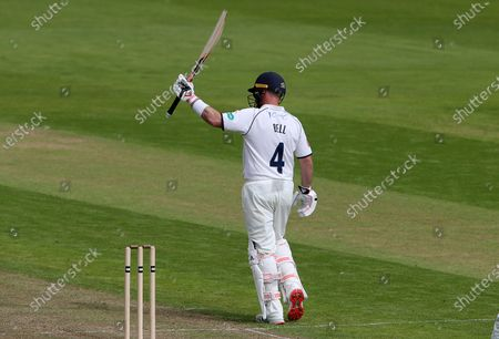 Ian Bell of Warwickshire acknowledges 149th first-class half century.