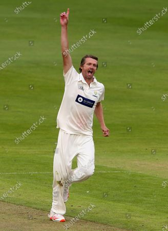 Stock Image of Michael Hogan of Glamorgan celebrates as Oliver Hannon-Dalby is caught by Tom Cullen.