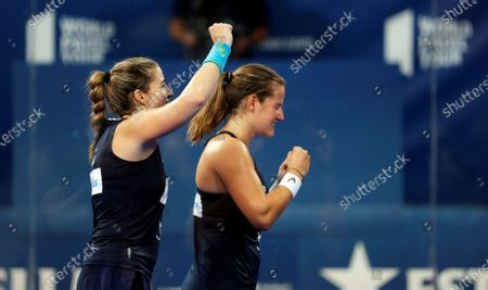 Alejandra Salazar (L) and Ariana Sanchez (R) jubilates their victory against Marta Marrero and Paula Jose Maria in the Valencia Open 2020 final game of the World Padel Tour at Fuente de San Luis pabillion in Valencia, Spain, 06 September 2020.