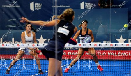 Marta Marrero (R) and Paula Jose Maria (L) in action against Alejandra Salazar and Ariana Sanchez during the Valencia Open 2020 final game of the World Padel Tour at Fuente de San Luis pabillion in Valencia, Spain, 06 September 2020.