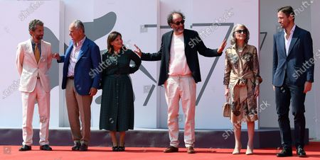 Diego Di San Giuliano, Leonardo Ferragamo, Angelica Visconti, Italian director Luca Guadagnino, Giovanna Ferragamo and James Ferragamo arrive for the premiere of  'Salvatore - Shoemaker of Dreams' at the 77th annual Venice International Film Festival, in Venice, Italy, 06 September 2020. The movie is presented out of competition at the festival running from 02 September to 12 September.
