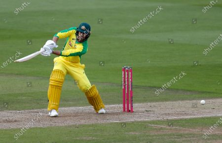 Australia's Ashton Agar bats during the second Twenty20 cricket match between England and Australia, at the Ageas Bowl in Southampton, England