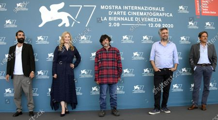 Italian actor Marco Zucca, German actress Anna Konig, Italian actors Gavino Ledda, Italian filmmaker Salvatore Mereu and Italian actor Corrado Giannetti pose at a photocall for 'Assandira' during the 77th annual Venice International Film Festival, in Venice, Italy, 06 September 2020. The movie is presented Out of Competition at the festival running from 02 September to 12 September.