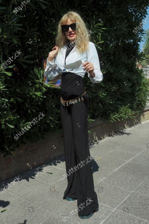 Arielle Dombasle is seen arriving at the Excelsior