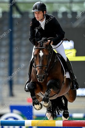 Stock Photo of Scott Brash of Great Britain on Hello Vincent competes in the Allianz Grand Prix jumping competition at the Aachen International Jumping in Aachen, Germany, 06 September 2020.