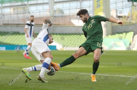 Robbie Brady of Ireland (R) in action against Robert Taylor of Finland (L) during the UEFA Nations League match between Ireland and Finland in Dublin, Ireland, 06 September 2020.