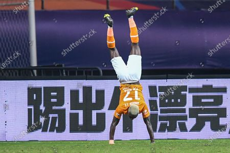 Jean Evrard Kouassi of Wuhan Zall celebrates after scoring a goal during the 9th round match between Wuhan Zall and Beijing Guoan at the postponed 2020 season Chinese Football Association Super League (CSL) Suzhou Division in Suzhou, east China's Jiangsu Province, Sept. 6, 2020.