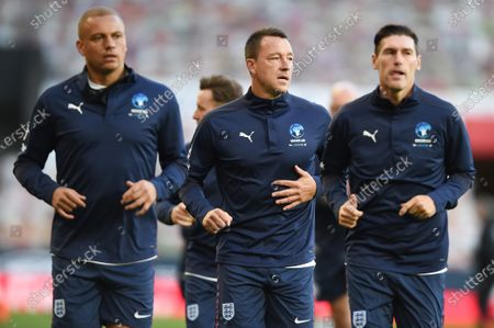 Wes Brown, John Terry and Gareth Barry on the pitch ahead of ahead of Soccer Aid for Unicef 2020 at Old Trafford, Manchester
