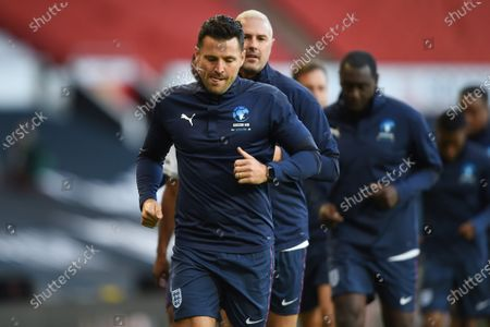 Mark Wright and Paddy McGuinness on the pitch ahead of ahead of Soccer Aid for Unicef 2020 at Old Trafford, Manchester