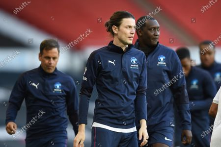James Bay and Emile Heskey on the pitch ahead of ahead of Soccer Aid for Unicef 2020 at Old Trafford, Manchester