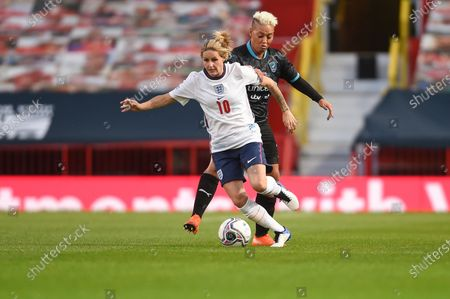 Kelly Smith of England and Lianne Sanderson of Soccer Aid World XI FC are pictured playing in Soccer Aid for Unicef 2020 at Old Trafford, Manchester