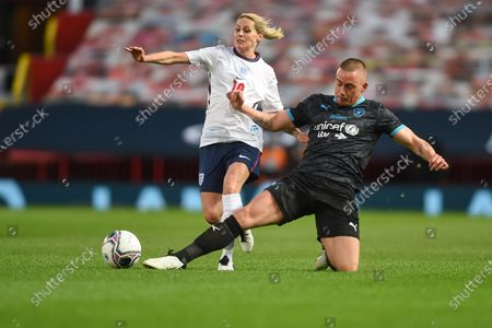 Kelly Smith of England and Dermot Kennedy of Soccer Aid World XI FC are pictured playing in Soccer Aid for Unicef 2020 at Old Trafford, Manchester