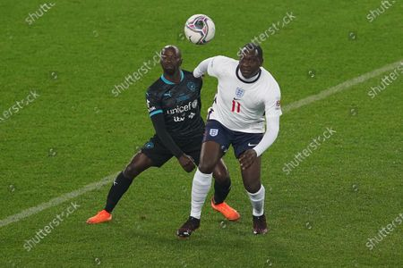 Emile Heskey of England and Claude Makelele of Soccer Aid World XI FC are pictured playing in Soccer Aid for Unicef 2020 at Old Trafford, Manchester.