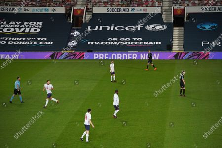General view of EA Sports FIFA 21 at Soccer Aid for Unicef 2020 at Old Trafford, Manchester.For further information, please contact Head of Communications Niall Malone niall@socceraidproductions.com© Unicef/SAP/(THOMPSON)20Photographed by Dave Thompson for Unicef UK and SAP LTD.06/09/2020