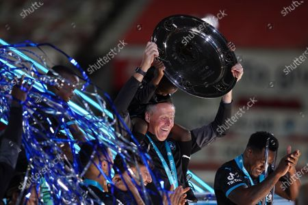 Stock Picture of Vic Bettinelli of Soccer Aid World XI FC lifts the trophy at Soccer Aid for Unicef 2020 at Old Trafford, Manchester.For further information, please contact Head of Communications Niall Malone niall@socceraidproductions.com© Unicef/SAP/(THOMPSON)20Photographed by Dave Thompson for Unicef UK and SAP LTD.06/09/2020