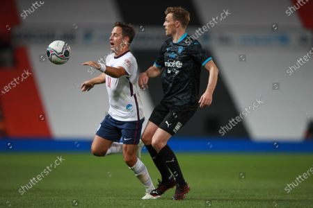 Joe Cole of England and Darren Fletcher of Soccer Aid World XI FC are pictured playing in Soccer Aid for Unicef 2020 at Old Trafford, Manchester.