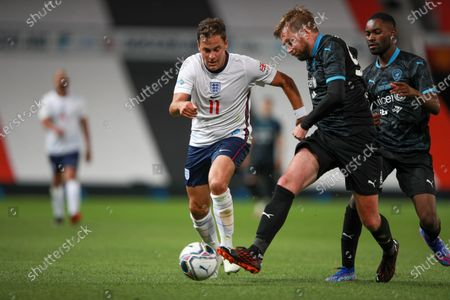 Joe Cole of England and Iain Stirling of Soccer Aid World XI FC are pictured playing in Soccer Aid for Unicef 2020 at Old Trafford, Manchester.