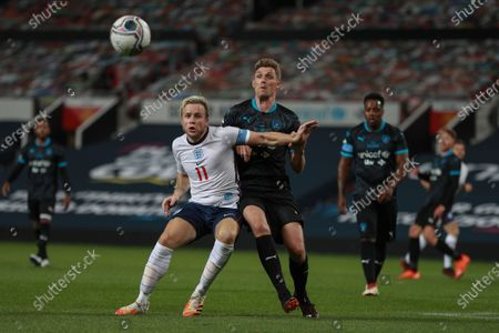 Olly Murs of England and Darren Fletcher of Soccer Aid World XI FC are pictured playing in Soccer Aid for Unicef 2020 at Old Trafford, Manchester.